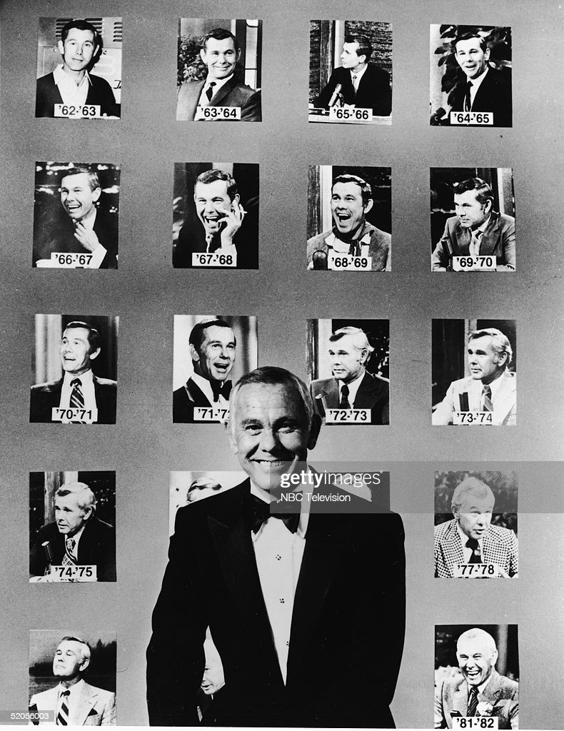 American talk show host and comedian <a gi-track='captionPersonalityLinkClicked' href=/galleries/search?phrase=Johnny+Carson&family=editorial&specificpeople=206990 ng-click='$event.stopPropagation()'>Johnny Carson</a> (1925 - 2005) wears a tuxedo and poses in front of portraits of him from his first twenty years as host of the NBC late night talk show 'The Tonight Show,' early 1980s.