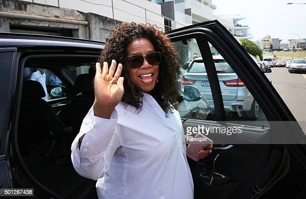 American talk show host Oprah Winfrey leaves after lunching at Bondi Icebergs restaurant before driving to Sydney Airport in Sydney New South Wales