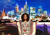 American talk show host Oprah Winfrey poses during rehearsals for her 'An Evening With Oprah' arena show at Rod Laver Arena in Melbourne Victoria