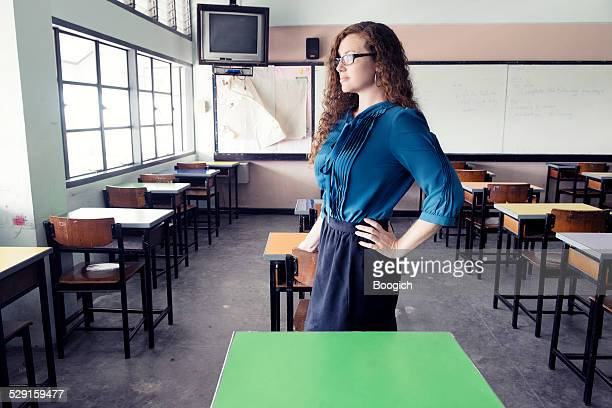 American Teaching Abroad in Empty Classroom Thailand