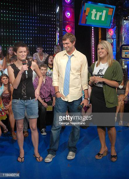 'American Teen' Cast Members Hannah Bailey Mitch Reinholt and Megan Krizmanich visit MTV's 'TRL' at the MTV studios in Times Square on July 28 2008...