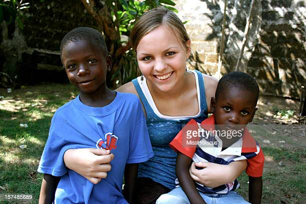 American Teen With African Children