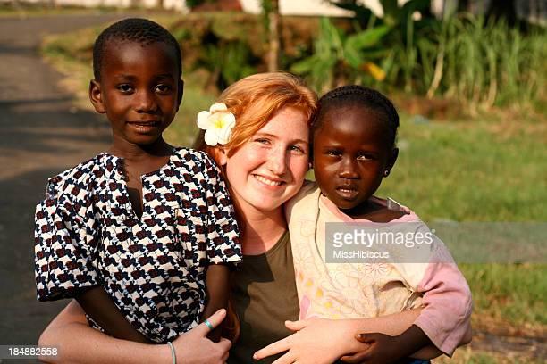 American Teen with African Children