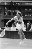 American tennis champion Chris Evert wins the first match of the ladies' singles at Wimbledon 23rd June 1981 Her opponent was Australia's Chris O'Neil