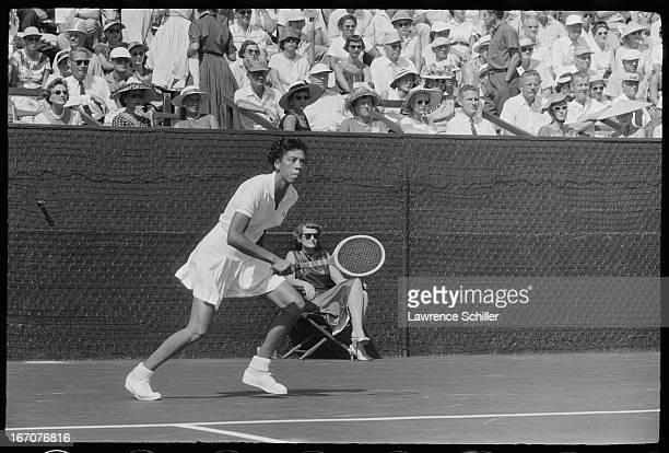 American tennis player Althea Gibson during a match at the Los Angeles Tennis Club Los Angeles California 1955