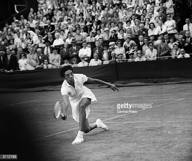 American tennis player Althea Gibson the first black player to gain prominence in the game at Wimbledon
