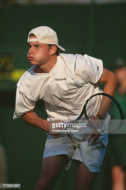 American tennis player Andy Roddick pictured in action during competition to reach the third round of the Men's Singles tennis tournament at the...