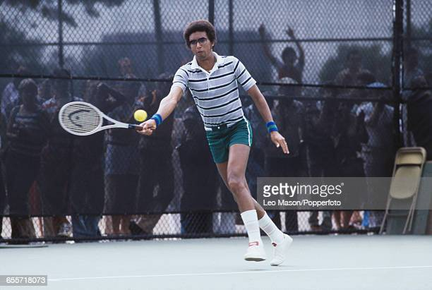 American tennis player Arthur Ashe pictured in action during competition to progress to reach the fourth round of the 1978 US Open Men's Singles...