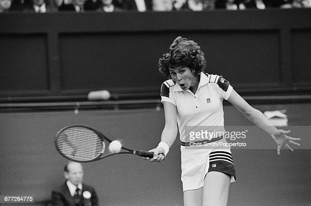 American tennis player Betsy Nagelsen pictured in action in her third round match against British tennis player Virginia Wade at the Wimbledon Lawn...