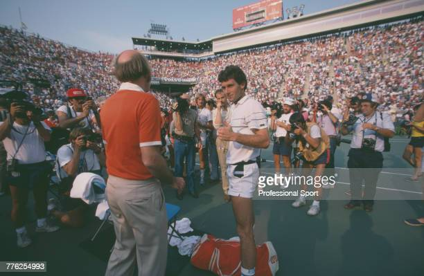 American tennis player Bill Scanlon pictured being interviewed after defeating fellow American tennis player John McEnroe 76 76 46 63 in the fourth...