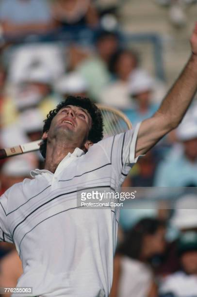 American tennis player Bill Scanlon pictured in action during competition to reach the semifinals of the Men's Singles tennis tournament during the...