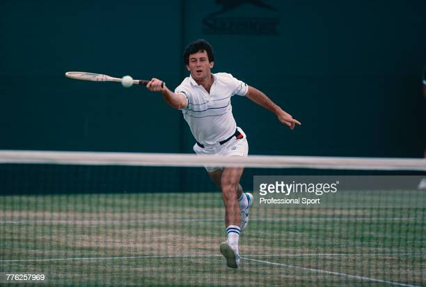 American tennis player Bill Scanlon pictured in action during competition to reach the fourth round of the Men's Singles tennis tournament at the...