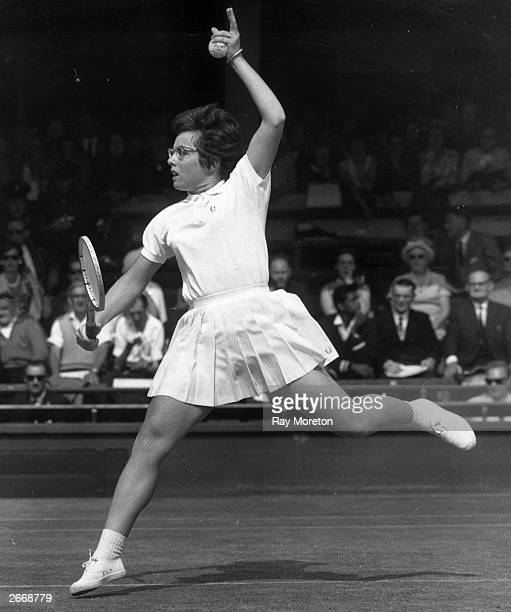 American tennis player Billie Jean King in action against Miss L R Turner of Australia at the Wimbledon Lawn Tennis Championships in London