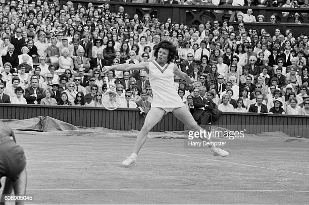American tennis player Billie Jean King on the court at Wimbledon 28th June 1971