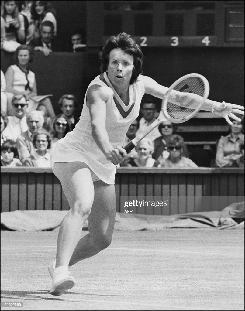 American tennis player Billie Jean King returns a
