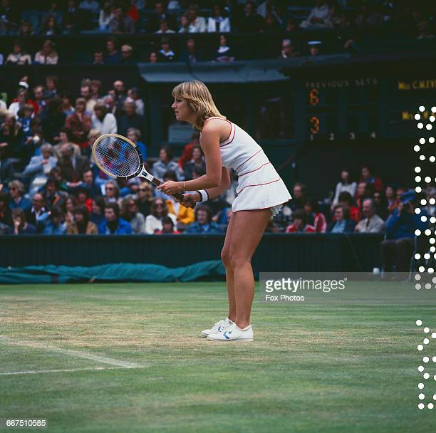 American tennis player Chris Evert competing against Billie Jean King in the quarterfinals of the Women's Singles tournament at The Championships...