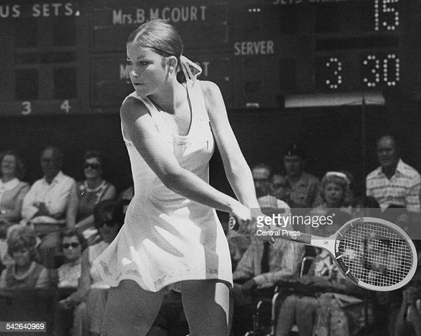 American tennis player Chris Evert competing against Margaret Court of Australia in the semifinals of the Ladies' Singles at the Wimbledon Lawn...