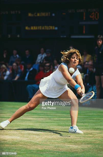American tennis player Chris Evert competing against Martina Navratilova in the final of the Ladies' Singles tournament at The Championships...