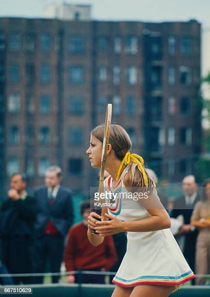 American tennis player Chris Evert competing at The Championships Wimbledon London 1972