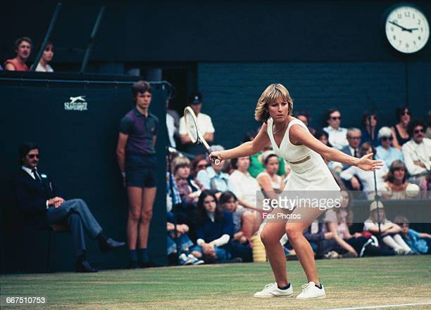 American tennis player Chris Evert competing to progress to reach the semifinals of the Ladies' Singles tournament at The Championships Wimbledon...