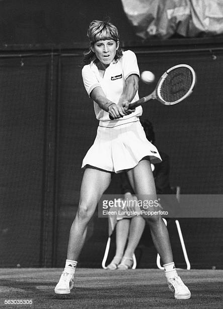 American tennis player Chris Evert Lloyd competing at Wimbledon Tennis Championships England July 1983
