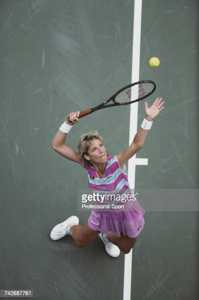 American tennis player Chris Evert pictured in action during progress to reach the quarterfinals of the Women's Singles tennis tournament at the 1987...