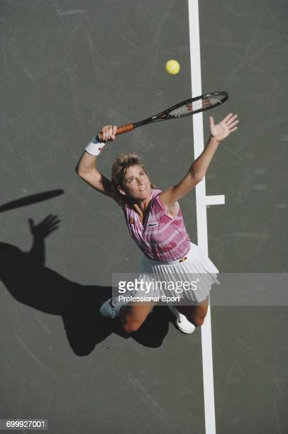 American tennis player Chris Evert pictured in action during competition to reach the semifinals of the 1986 US Open Women's singles tennis...
