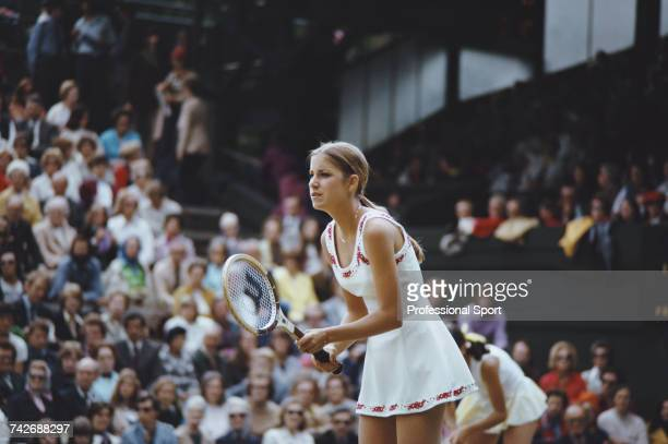 American tennis player Chris Evert pictured in action in the Women's doubles tennis tournament at the 1974 Wimbledon Lawn Tennis Championships at the...