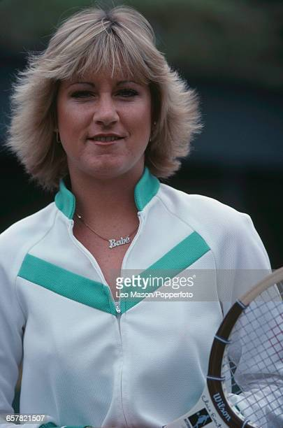 American tennis player Chris Evert posed holding a Wilson tennis racket during competition in the Federation Cup tennis tournament at Devonshire Park...