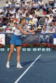 American tennis player Chris Evert prepares to serve during a match at the US Open tennis championships in Forest Hills New York September 11 1981