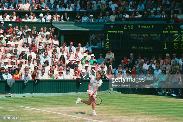 American tennis player Chris EvertLloyd competing against Hana Mandlíková in the semifinal of the Women's Singles at The Championships Wimbledon...