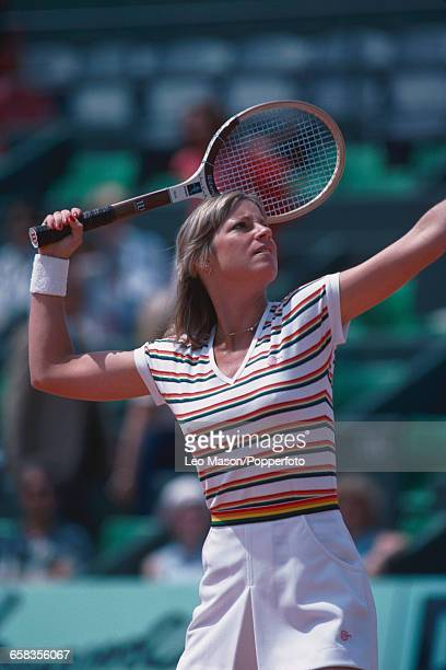 American tennis player Chris EvertLloyd pictured in action competing to reach the final and win the Women's Singles tournament to become champion at...