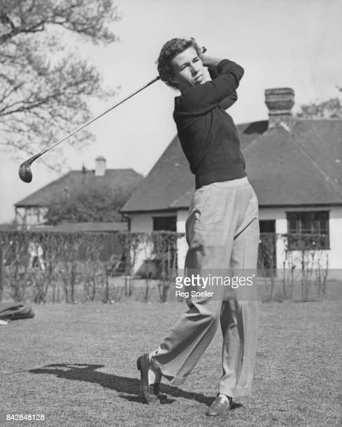 American tennis player Doris Hart a member of the American Wightman Cup team relaxes with a game of golf at Shirley Park UK 18th May 1954
