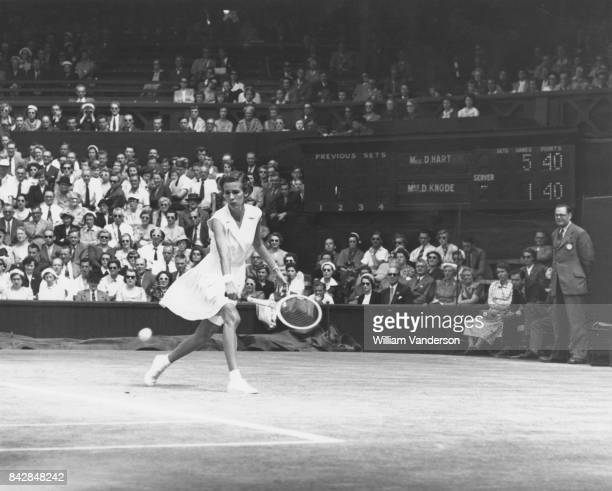 American tennis player Doris Hart in action against Dorothy Knode of the US during the semifinals of the Women's Singles on the Centre Court at...