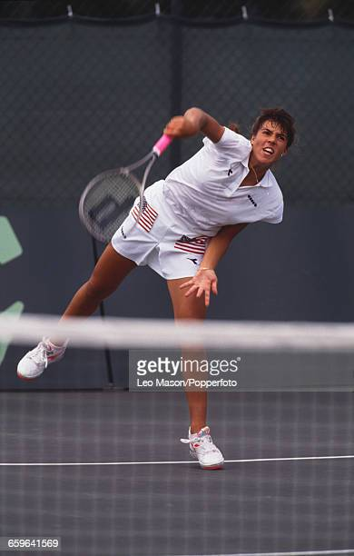 American tennis player Jennifer Capriati pictured in action for the United States during progress to reach the final of the 1991 Federation Cup...