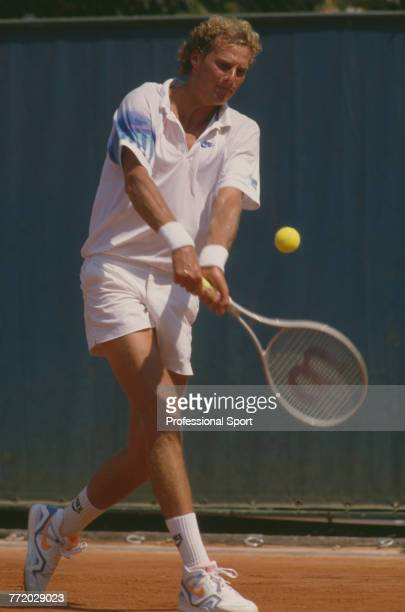 American tennis player Jim Pugh pictured in action during competition to reach the second round of the Men's Singles tournament at the 1990 French...