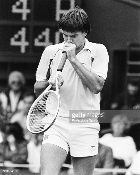 American tennis player Jimmy Connors entertains the crowd during a match on Centre Court at Wimbledon Tennis Championships London June 1987