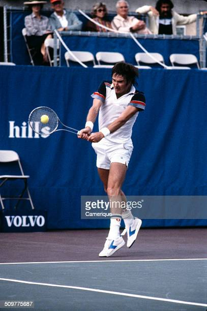 American tennis player Jimmy Connors in action on the court September 1982