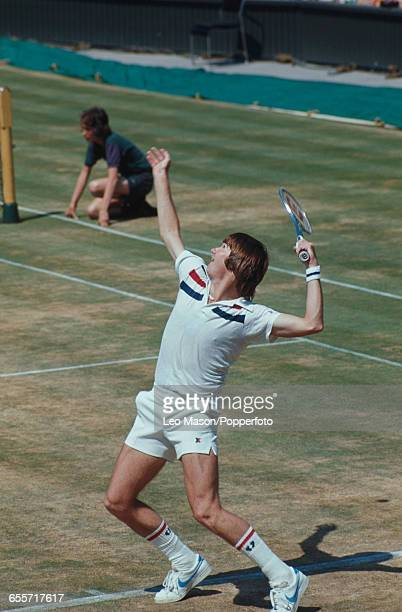 American tennis player Jimmy Connors pictured competing to progress to reach the final of the Men's Singles tournament before losing to Arthur Ashe...