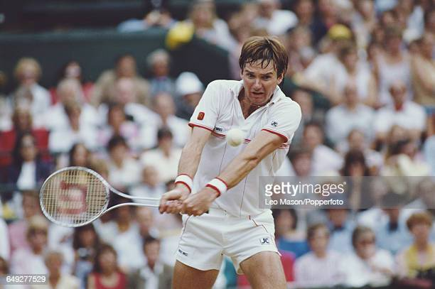 American tennis player Jimmy Connors pictured in action competing to reach the semifinals of the Men's Singles tournament at the Wimbledon Lawn...