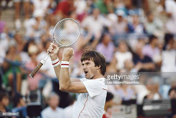 American tennis player Jimmy Connors pictured in action competing to reach the final and win the 1983 US Open Men's Singles tennis tournament at the...