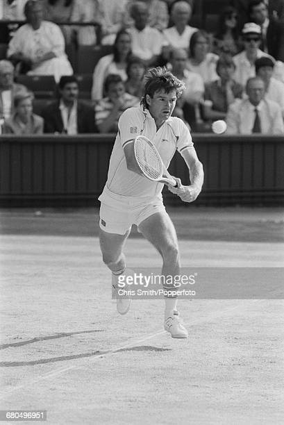American tennis player Jimmy Connors pictured in action to lose to Australian tennis player Pat Cash 46 46 16 in the semi finals of the Men's Singles...