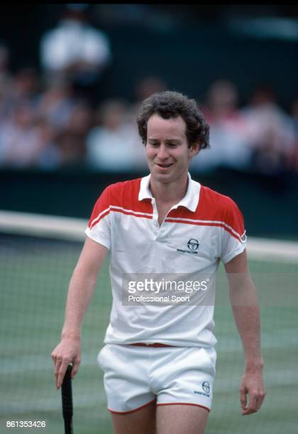 John McEnroe of the USA reacts during the mens singles Final match against Chris Lewis of New Zealand at the Wimbledon Lawn Tennis Championships at...