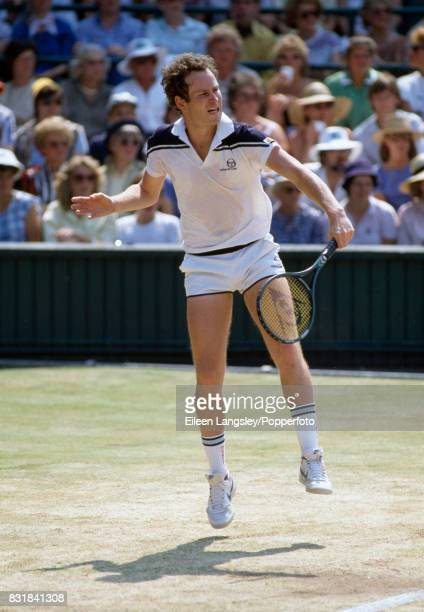 John McEnroe of the USA in action during the men's singles final at the Wimbledon Lawn Tennis Championships in London on 8th July 1984 McEnroe...