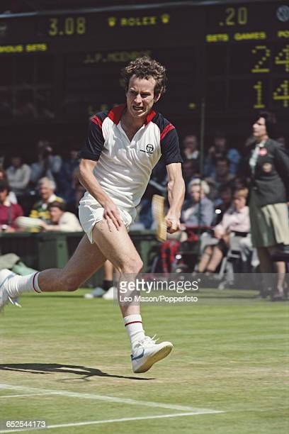 American tennis player John McEnroe pictured in action competing to reach the final of the Men's Singles tournament before losing to Jimmy Connors 36...