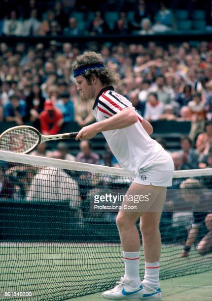 John McEnroe of the USA in action during the Wimbledon Lawn Tennis Championships at the All England Lawn Tennis and Croquet Club circa June 1980 in...