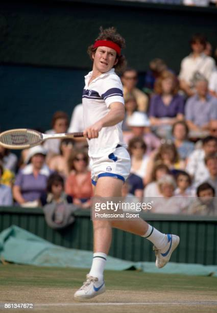 John McEnroe of the USA in action during the Wimbledon Lawn Tennis Championships at the All England Lawn Tennis and Croquet Club circa June 1981 in...
