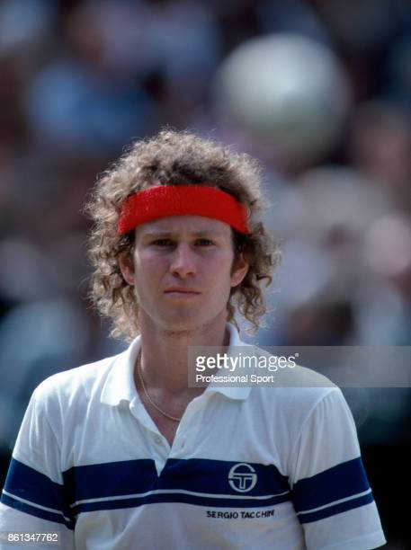 John McEnroe of the USA during the Wimbledon Lawn Tennis Championships at the All England Lawn Tennis and Croquet Club circa June 1981 in London...