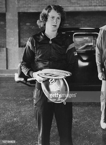 American tennis player John McEnroe leaves his hotel for Wimbledon London 30th June 1977