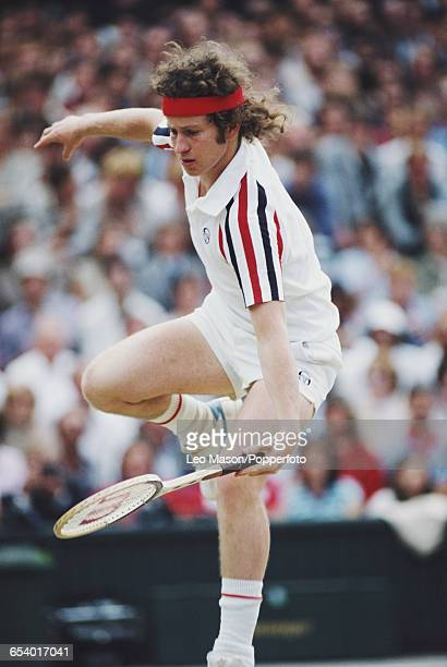 American tennis player John McEnroe pictured competing to progress to reach the final of the Men's Singles tournament before losing to Bjorn Borg at...